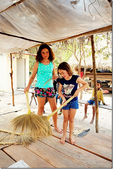 Cambodia Tours: Making Brooms with Kids