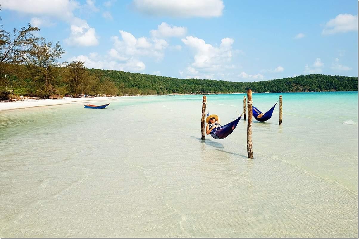 Koh Rong Samloem Island Hammocks In The Ocean
