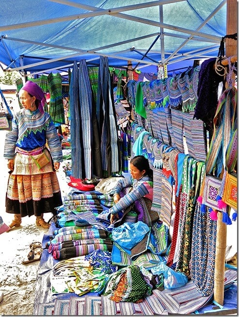 Hmong dresses for sale in Bac Ha Markets Vietnam