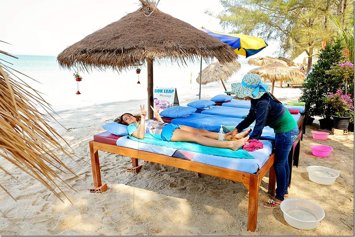 Massages on the beach at Otres Beach Cambodia