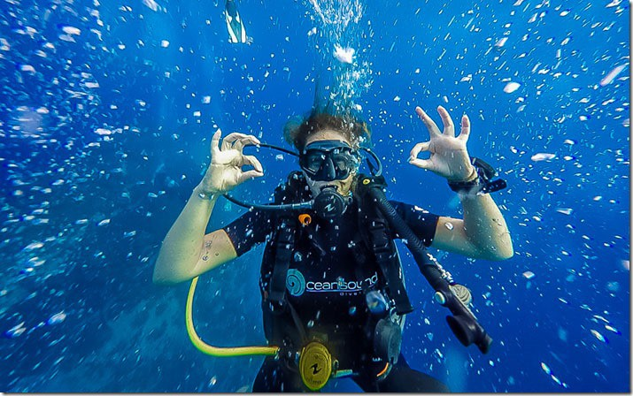 Katherine elated that she passed the PADI course