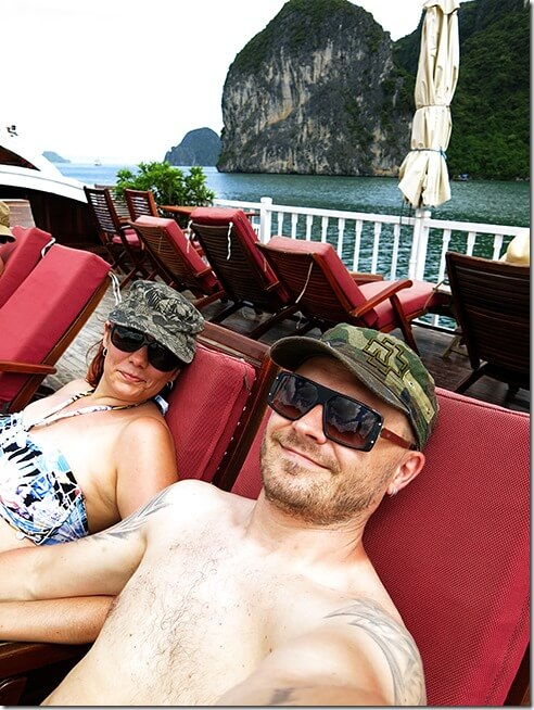 Relaxing on the top deck of the Indochina Sails Dayboat