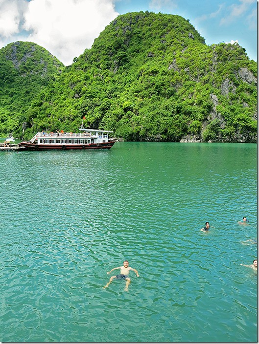 Swimming amongst the Halong Bay islands