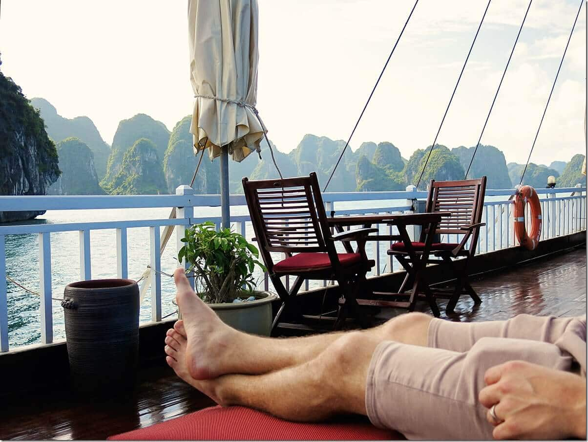 Top deck of our Indochinasails Halong Bay Cruise