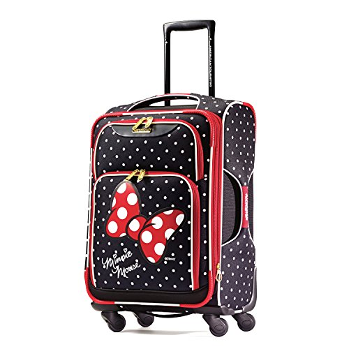 rolling luggage for girls - American Tourister Disney Minnie Mouse Red Bow Softside Spinner