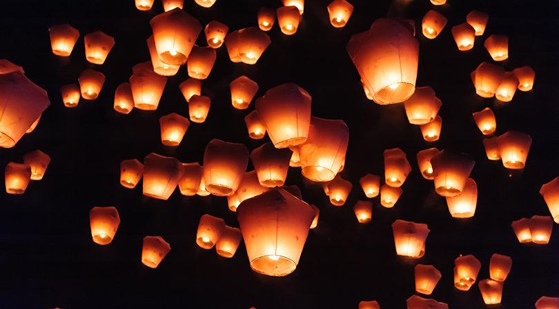 Sky lanterns in Lantern Festival, Taipei, Taiwan