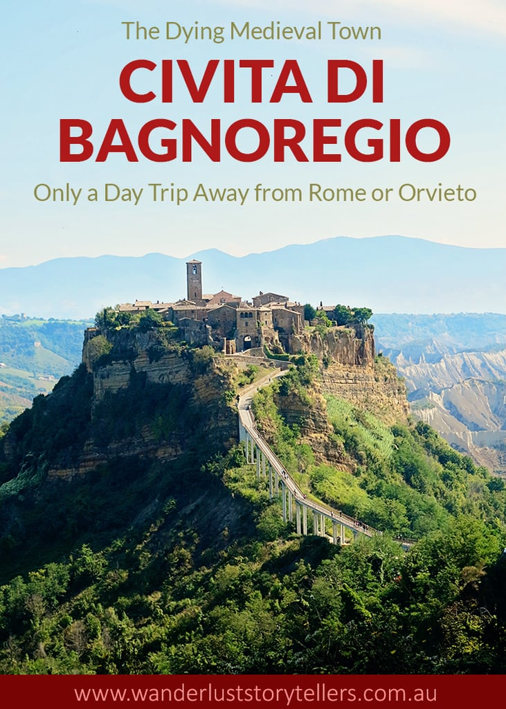 Civita di Bagnoregio is a medieval town in Viterbo, Italy. You can easily reach this town on day trip from Rome or Orvieto. It is a dying city, so best to visit now! Click to read our post for more info!