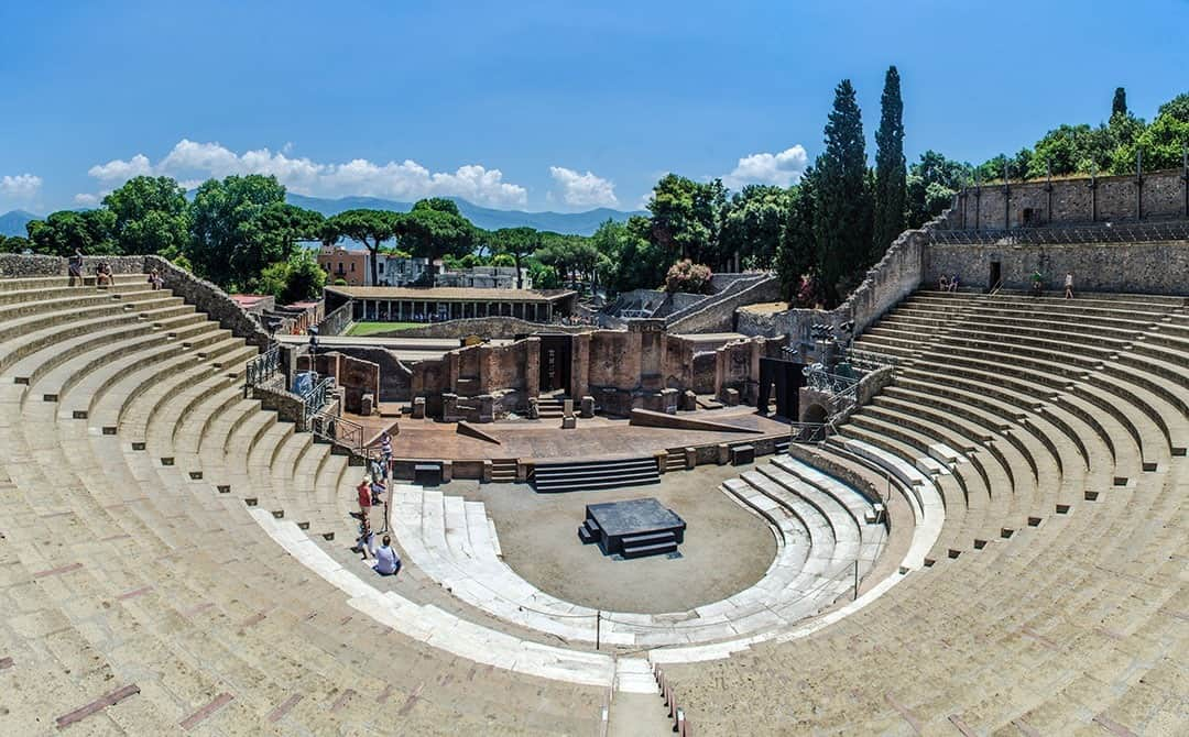 view of the ruin of amphitheatre - theatre in italian pompeii