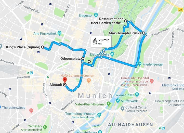 Munich Bike Tour Map