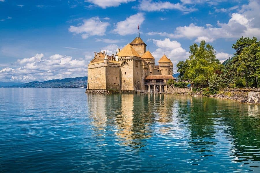 World-famous Chateau de Chillon at Lake Geneva, Switzerland