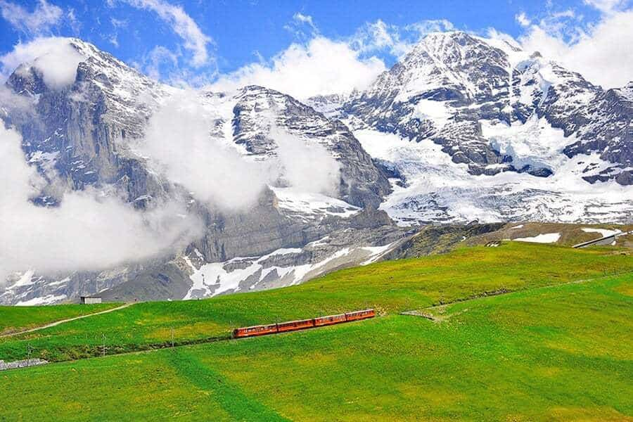 Cogwheel train from Jungfraujoch station.