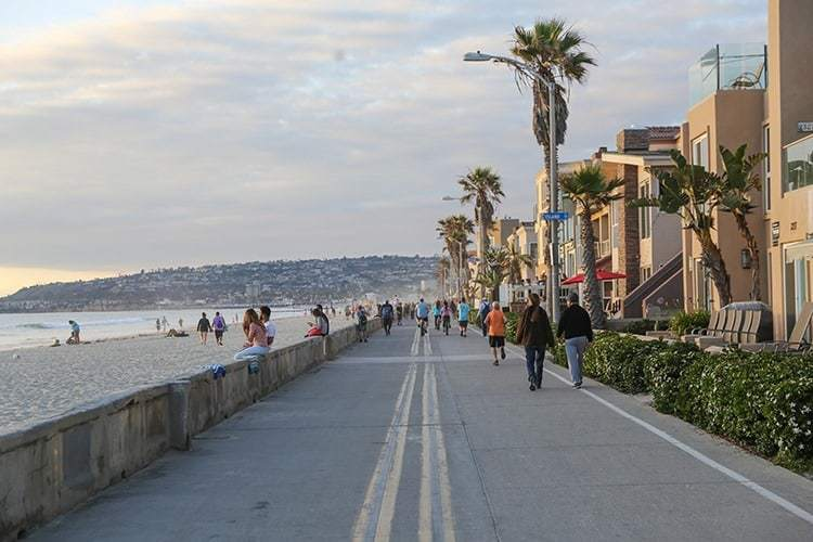 Mission Beach Boardwalk, Summer Sunset, San Diego, California
