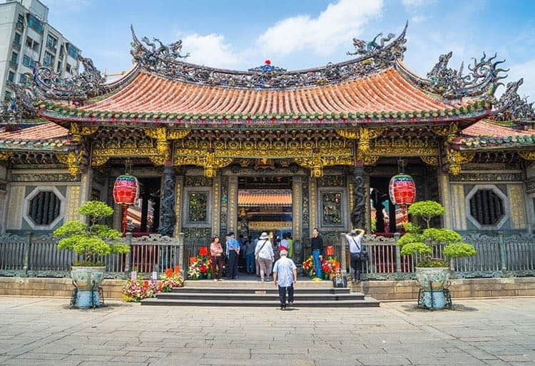 TAIPEI, TAIWAN - May 5, 2015 : Many people including tourist and believers come to Longshan Temple, Taiwan on May 5th, 2015. It is one of the oldest Traditional Temple in Taipei