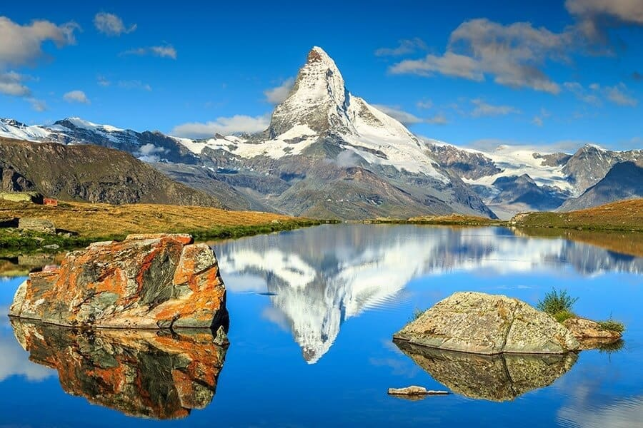 Autumn landscape with Matterhorn peak and Stellisee lake,Valais,Switzerland