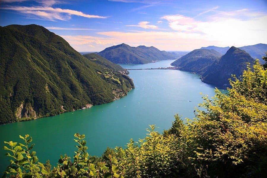View of Lugano lake in summer, Switzerland