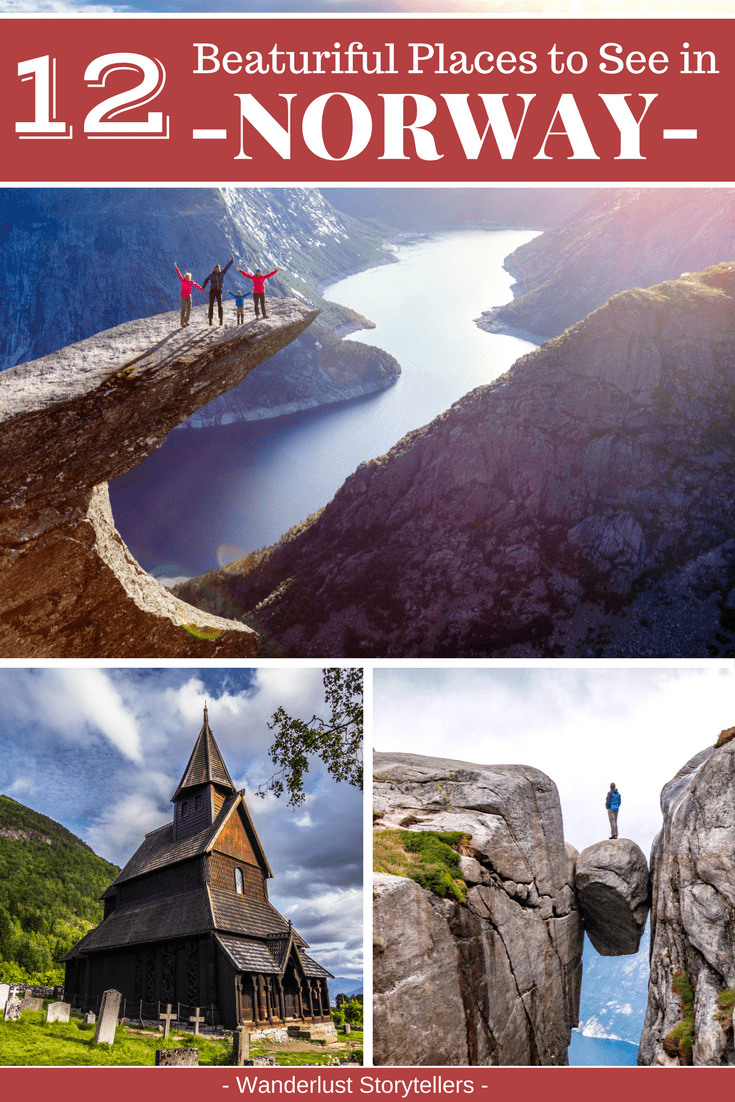 Click to find which 12 beautiful places in Norway should be on your Norway travel bucket list.  Use these places to plan your Norway itinerary.  Click to start planning your trip.