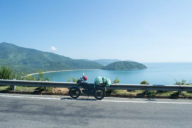 Coastal Landscape with Motorcycle and Road near Hoi An, Vietnam