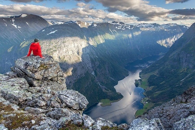 View over fjord near Gudvangen, Naeroyfjord,Norway