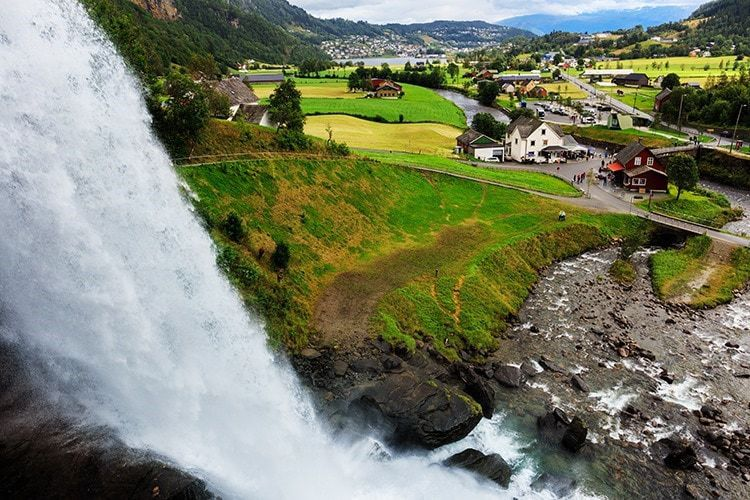 Steinsdalsfossen Waterfall in Norway