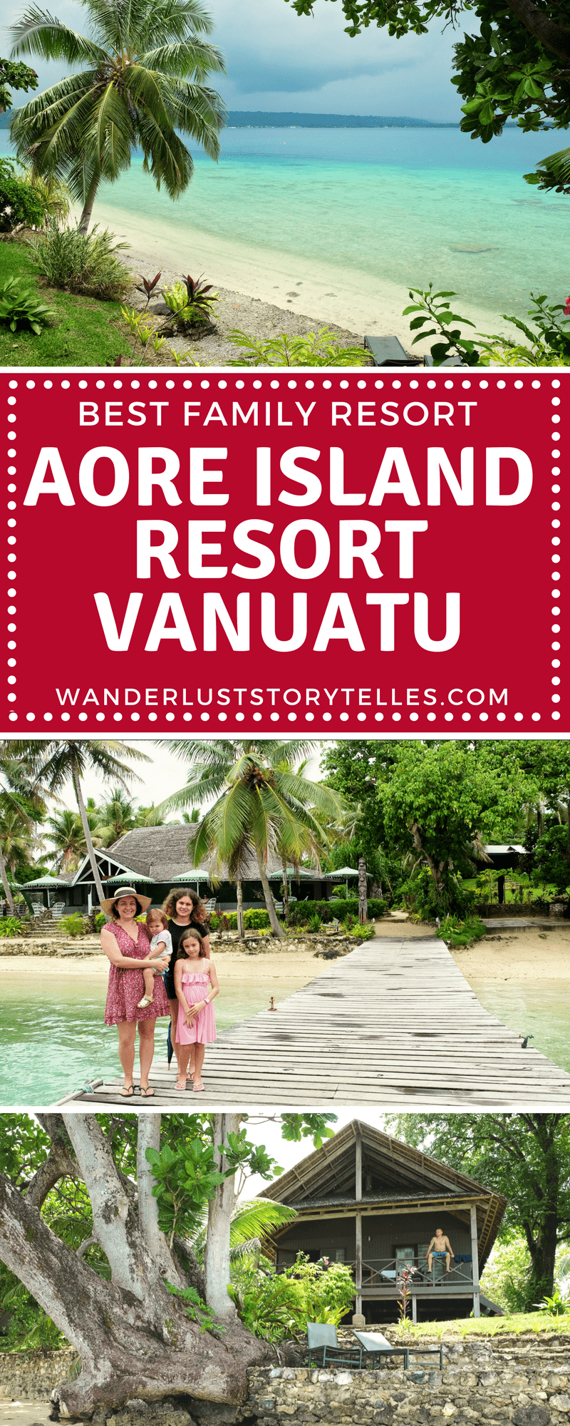 The best Vanuatu family resort! Aore Island resort is the perfect place to base yourself for your Vanuatu family holiday. It is a 10min ferry ride away from Espiritu Santo Island and there is loads of things to do to keep everyone busy. Click to see why we love this Vanuatu family accommodation so much! #Vanuatu #SouthPacific #TravelwithKids