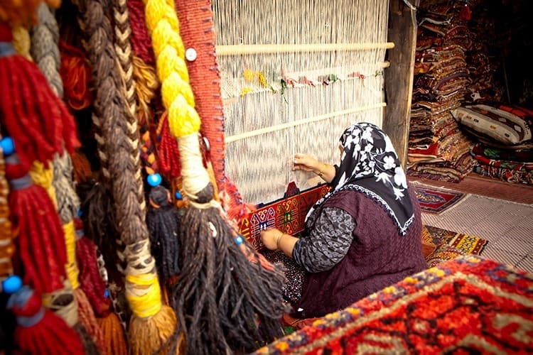 Weaver on Traditional Turkish Hand Loom