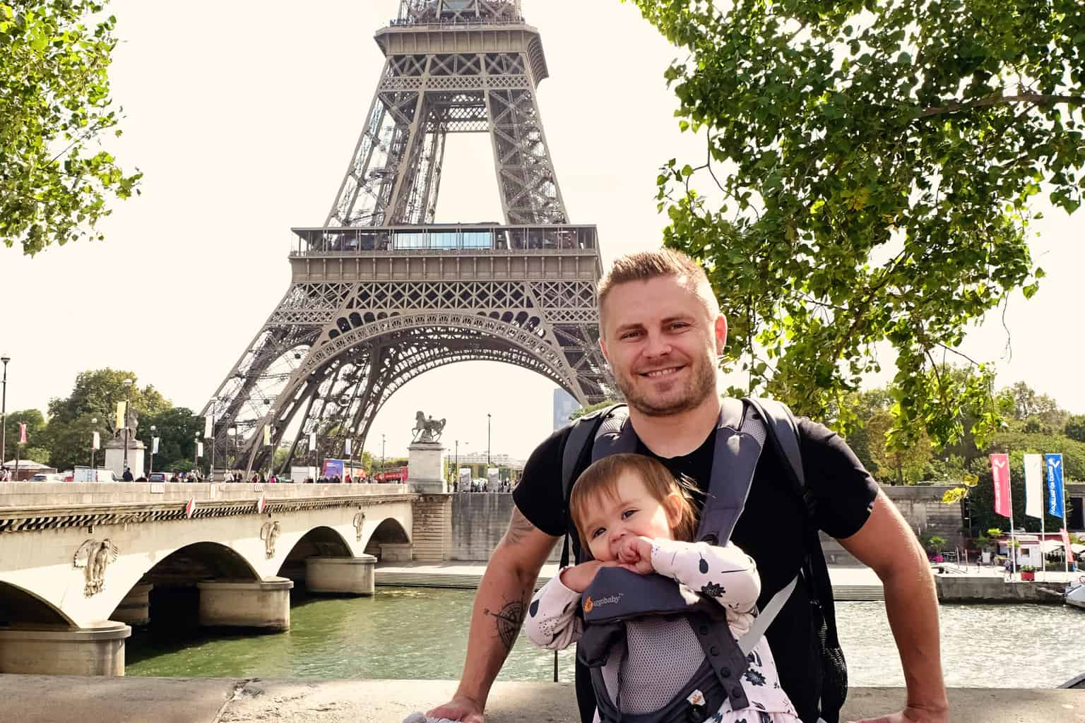 Paris with a Baby at the Eiffel Tower