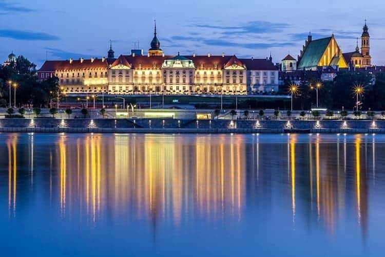The Royal Castle over the Vistula river in Warsaw, Poland