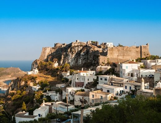 Picturesque view of the Venetian castle and city of Kythera isla