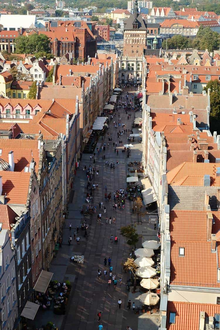 Gdansk view from Historical Museum over Long Market Street