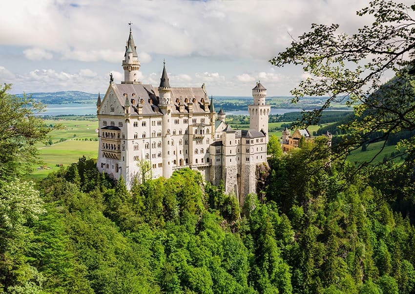 Neuschwanstein Castle located near Fussen in southwest Bavaria, Germany.