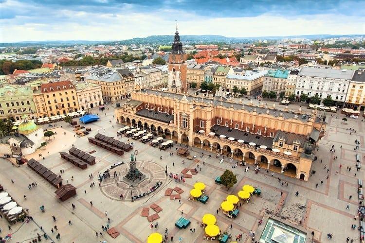 View from Mariacki Tower in Krakow, Widok z wierzy Mariackiej w Krakowie