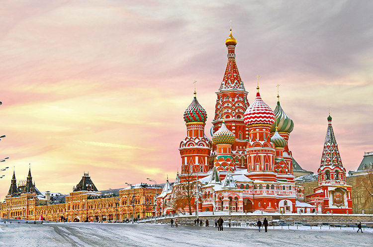 Moscow, Russia, St. Basil's Cathedral in winter