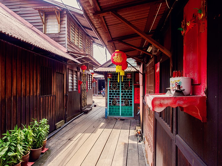 Passage in Clan Jetties in Georgetown, Penang, Malaysia