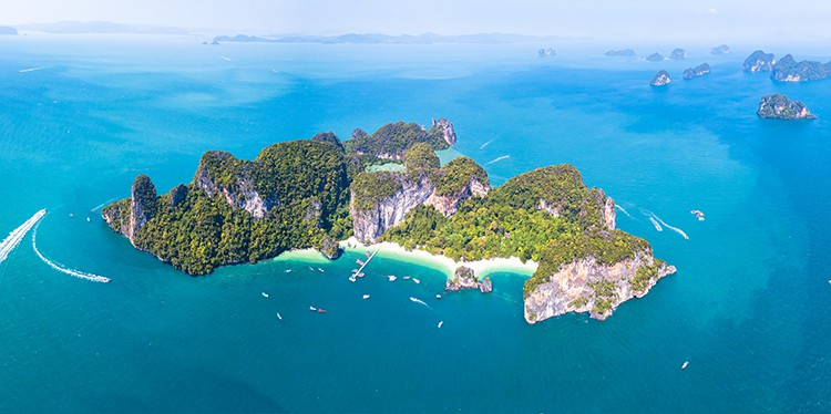 Aerial panoramic view of Ko Hong island, Krabi, Thailand, archip