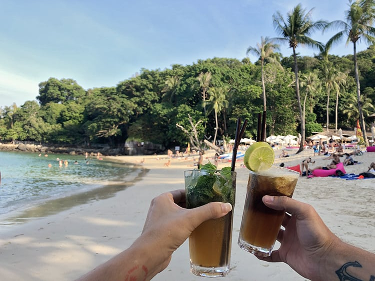 Cocktails at Paradise Beach Phuket Thailand