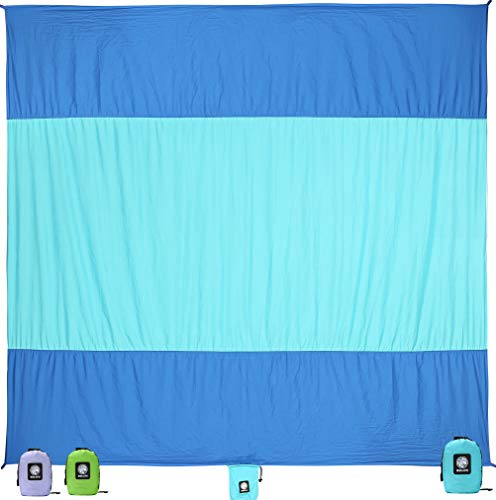 Includes 4 Stakes Portable and Quick-Drying Fit for Camping Picnic 7x9//9x10 Resistant Ripstop Sand Proof Material Outdoor Beach Oversized Lightweight Blanket