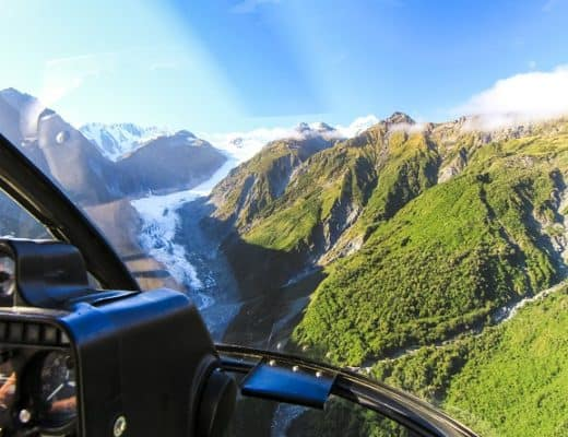 Activities in New Zealand with Kids - Flying over Fox Glacier