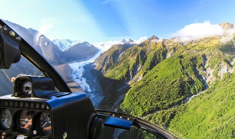 Activities in New Zealand with Kids - Flying over Fox Glacier