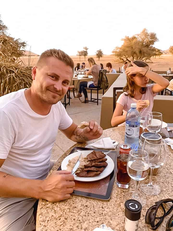Dining in Namibia Sossusvlei with Kids