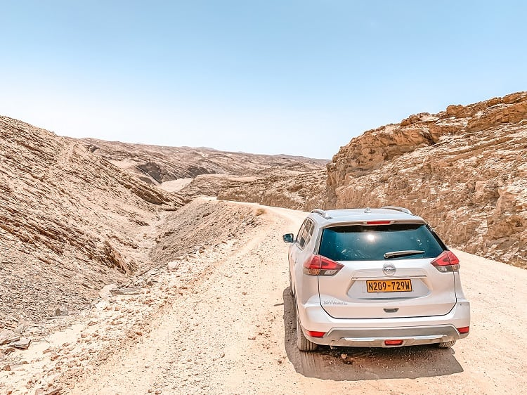 Driving in a desert in Namibia with Kids