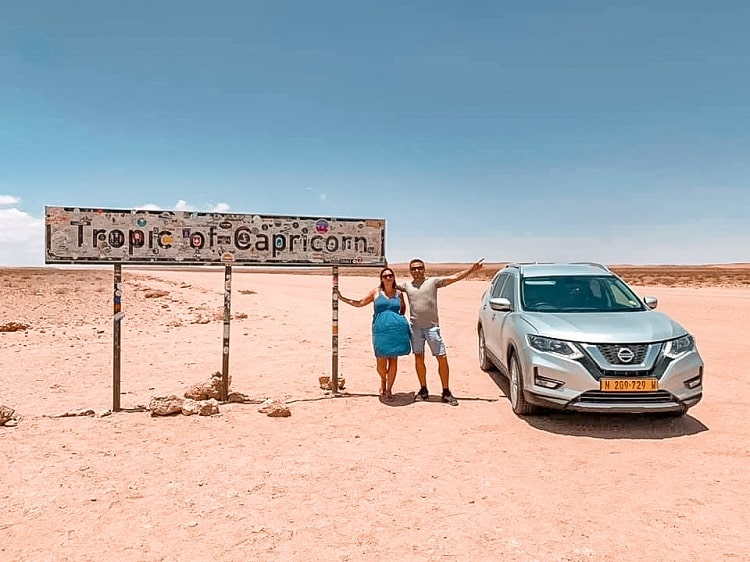 Tropic of Capricorn in Namibia - Driving in Nabia with Kids