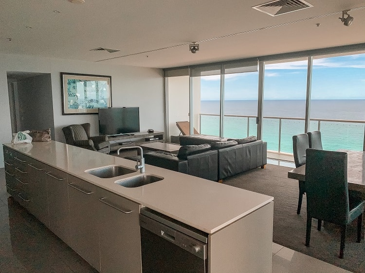 ULTIQA Air On Broadbeach Review - Living Room and Kitchen