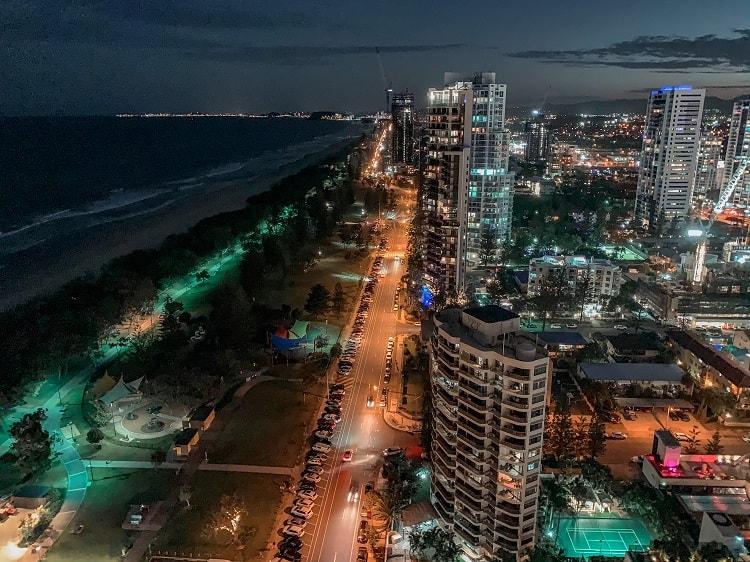 ULTIQA Air On Broadbeach Review - View at Night