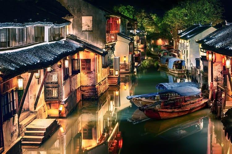 Zhouzhuang water town at night, Jiangsu, China