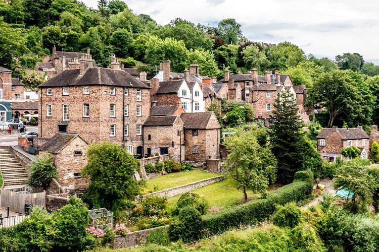 Houses and the River Severn in Iron Bridge Gorge in Shropshire, England
