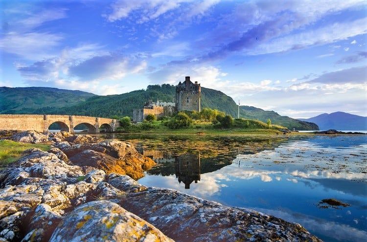 Tourists favourite place in Scotland - Isle of Skye - Castle in Scotland called Eilean Donan Castle - Scottish Highlands